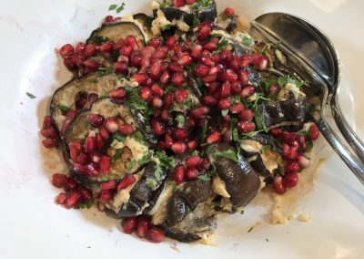 Roasted aubergine with tahini dressing