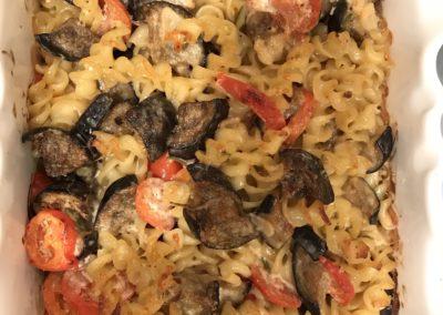 Baked aubergine, tomato & garlic pasta