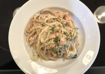 Quick smoked salmon pasta