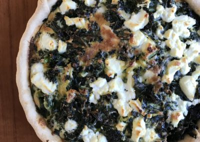 Kale, onion & goat's cheese tart