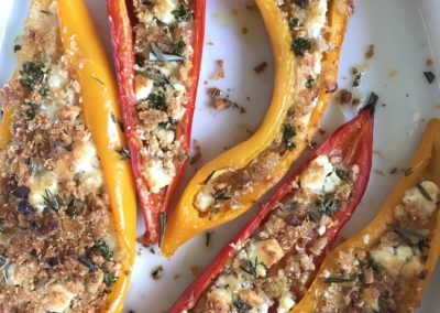 Peppers filled with breadcrumbs & feta