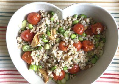 Spelt with smoked mackerel, edamame & roasted tomato