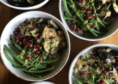 Aubergine, lentil & pomegranate bowl with tahini & miso dressing
