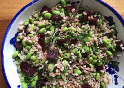Beetroot & edamame spelt salad