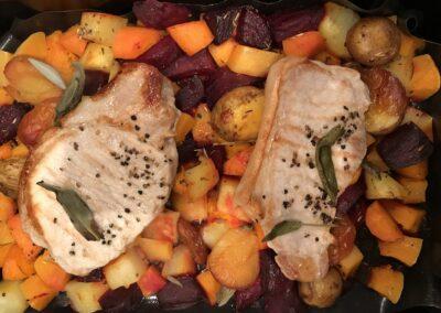 Pork with plum, sage & autumn veg